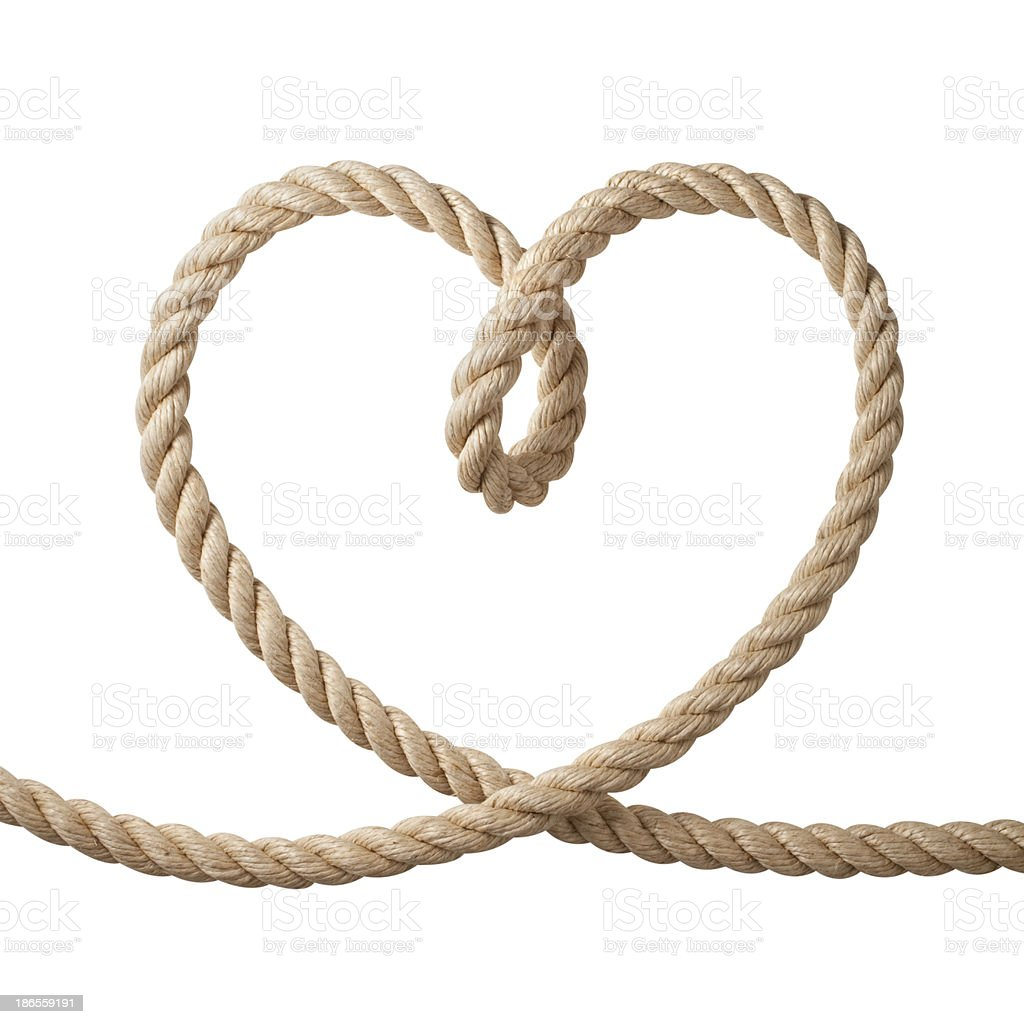 Heart shaped rope stock photo