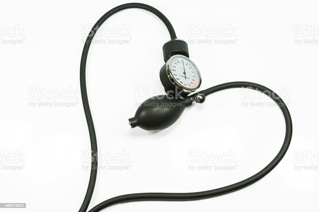 Heart shaped sphygmometer stock photo