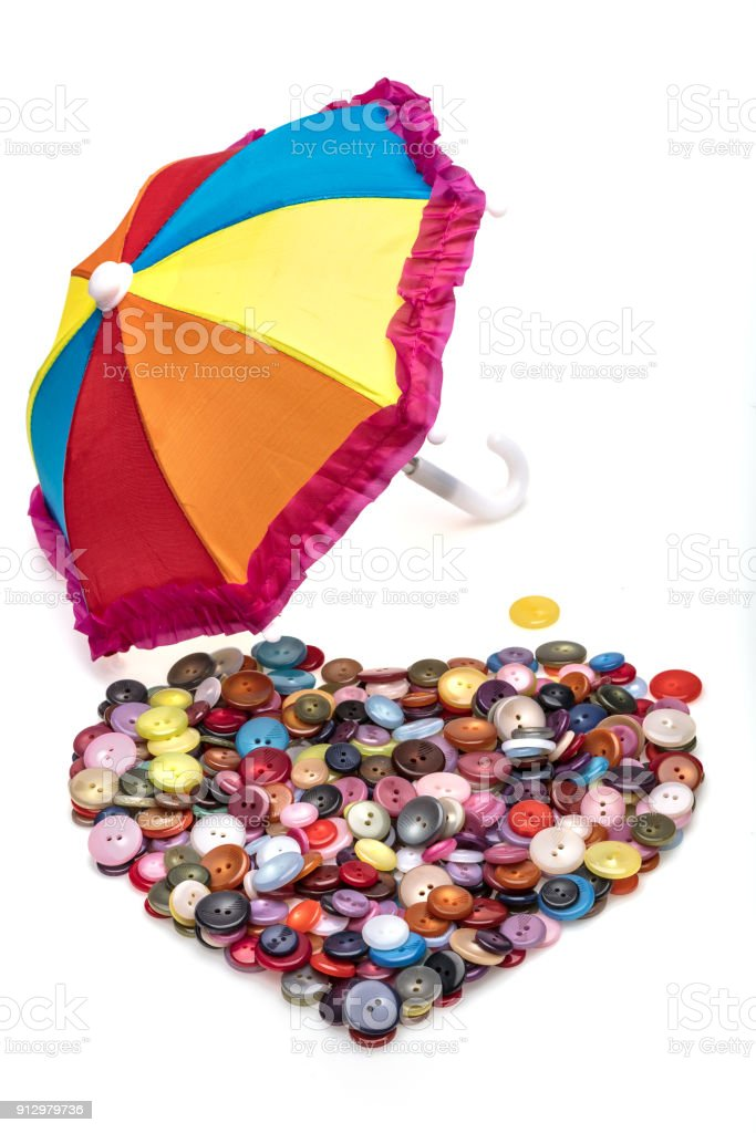 Heart Shaped Stitching Buttons And Colorful Umbrella Colored Dress