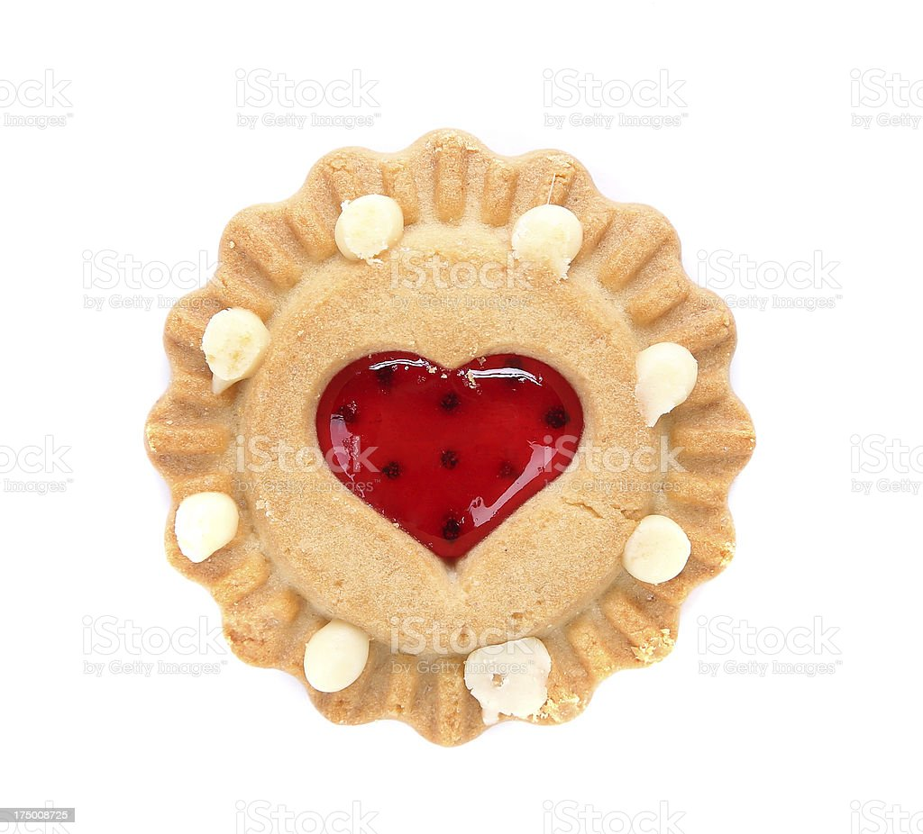 Heart shaped strawberry biscuit. royalty-free stock photo