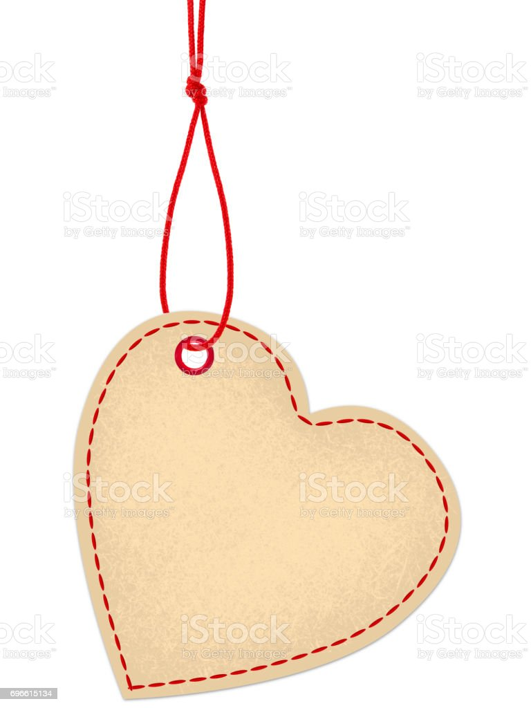 Heart shaped tag with red string and stitches stock photo