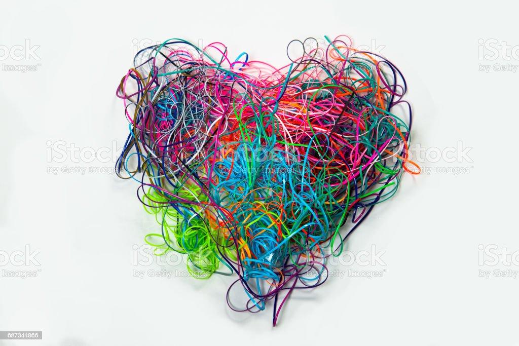 Heart Shaped Tangled Lanyard Strings stock photo