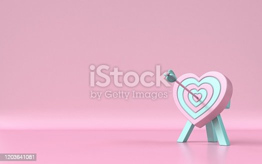 970844120 istock photo Heart shaped target with the arrow in the center 3D 1203641081