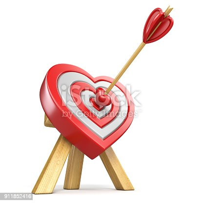970844120 istock photo Heart shaped target with the arrow in the center 3D 911852416