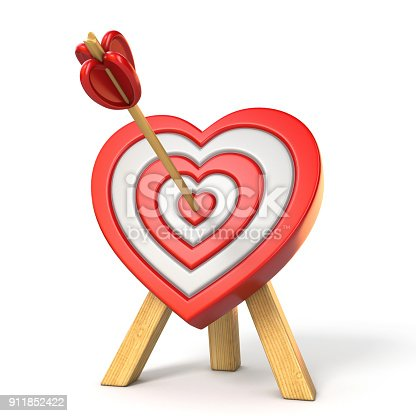 970844120 istock photo Heart shaped target with the arrow in the center 3D 911852422