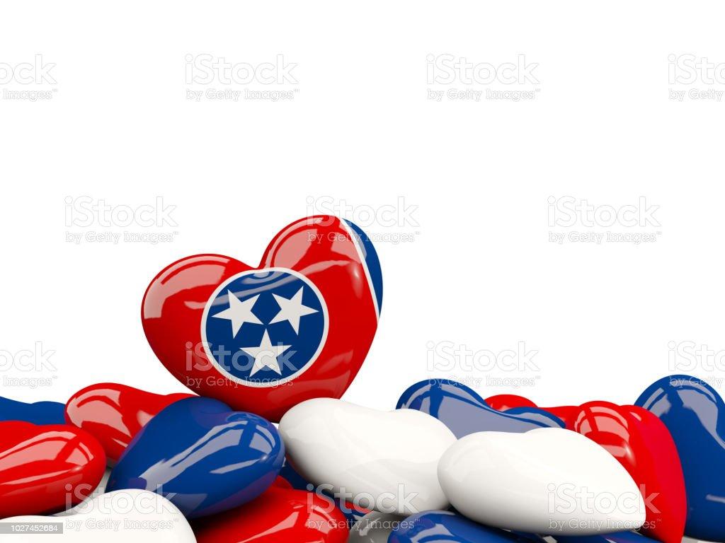 Bandeira do estado de tennessee em forma de coração. Bandeiras de locais dos Estados Unidos - foto de acervo