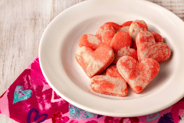 Heart Shaped Valentine Cookies on Plate stock photo