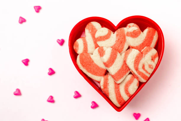 Heart Shaped Valentine's Day Cookies and Candy stock photo