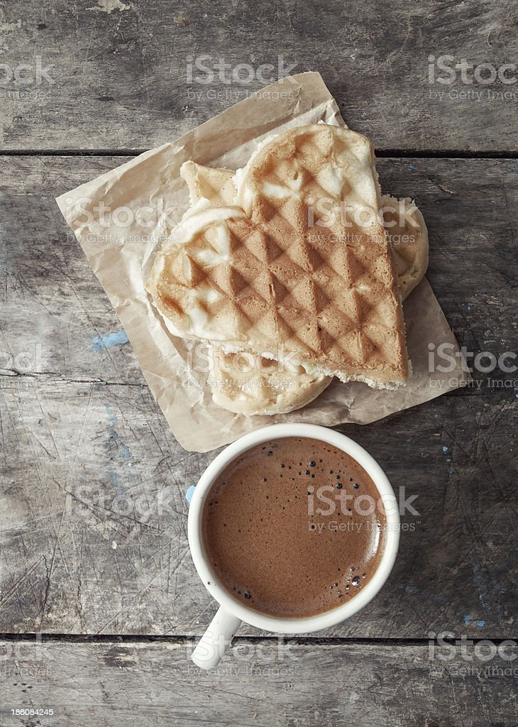 heart shaped waffles and coffee stock photo