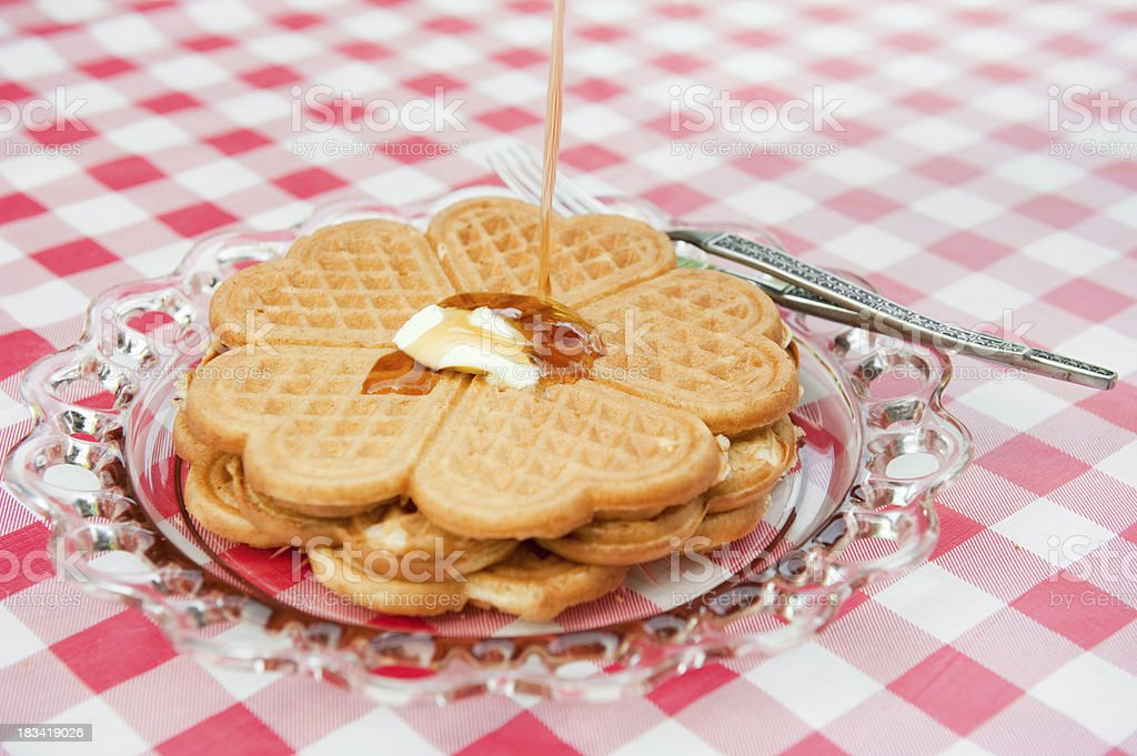 Heart Shaped Waffles and Syrup royalty-free stock photo