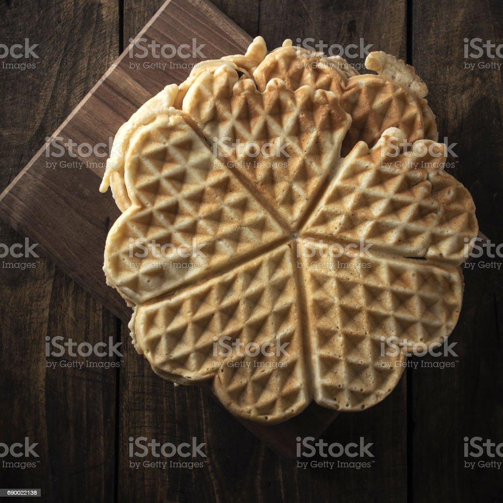 Heart Shaped Waffles stock photo