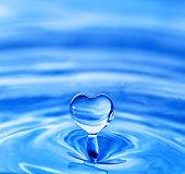 water drop in shape of heart