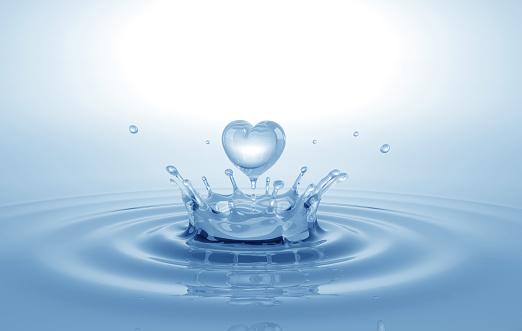 Heart shaped water splash. Conceptual symbol. 3D illustration.