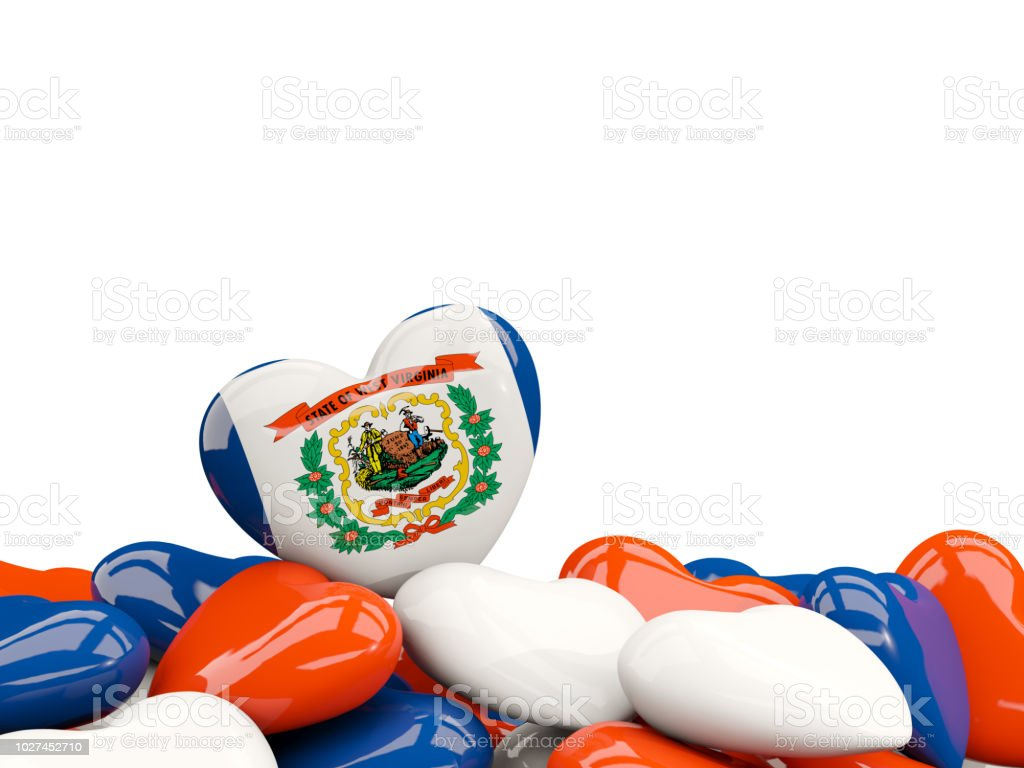 Heart shaped west virginia state flag. United states local flags stock photo