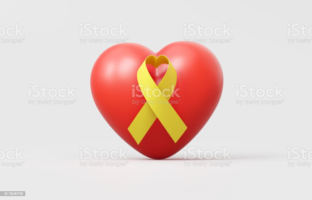 Heart Shaped Yellow Ribbon On Red Heart - Support And  Hope Concept stock photo