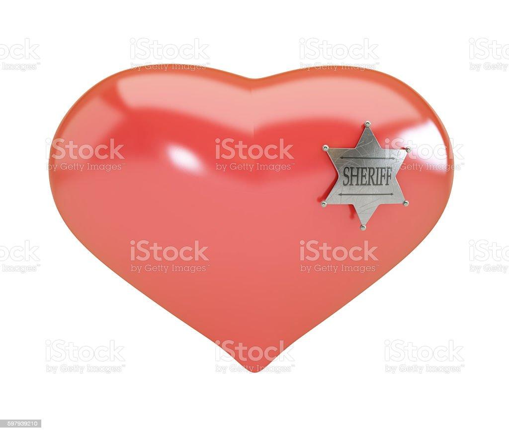 Heart sign sheriff's badge on white background. 3d Illustrations stock photo