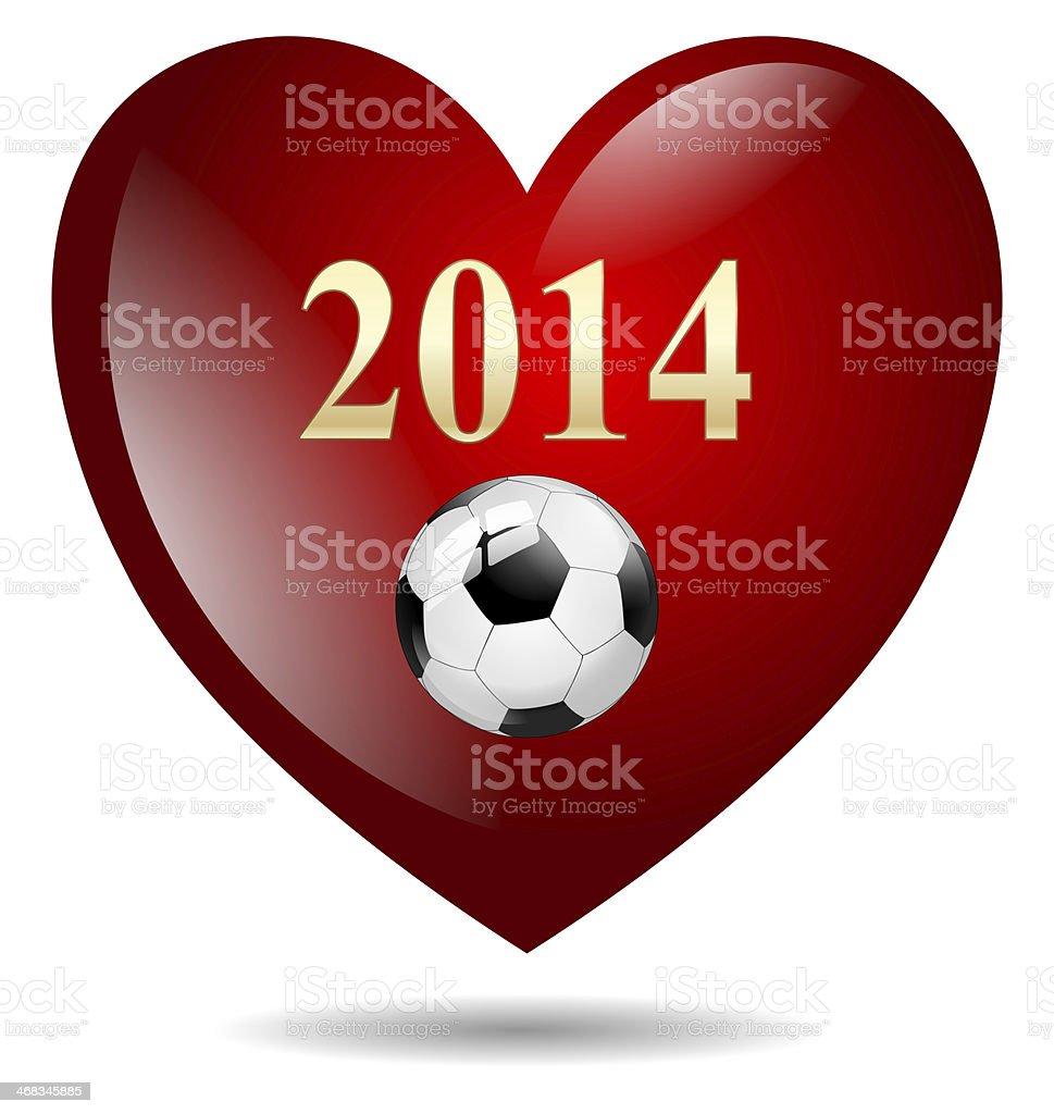heart soccer ball 2014 royalty-free stock photo