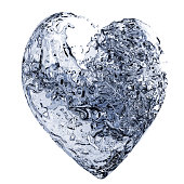 Heart made of blue water splash isolated on white. Clipping path included