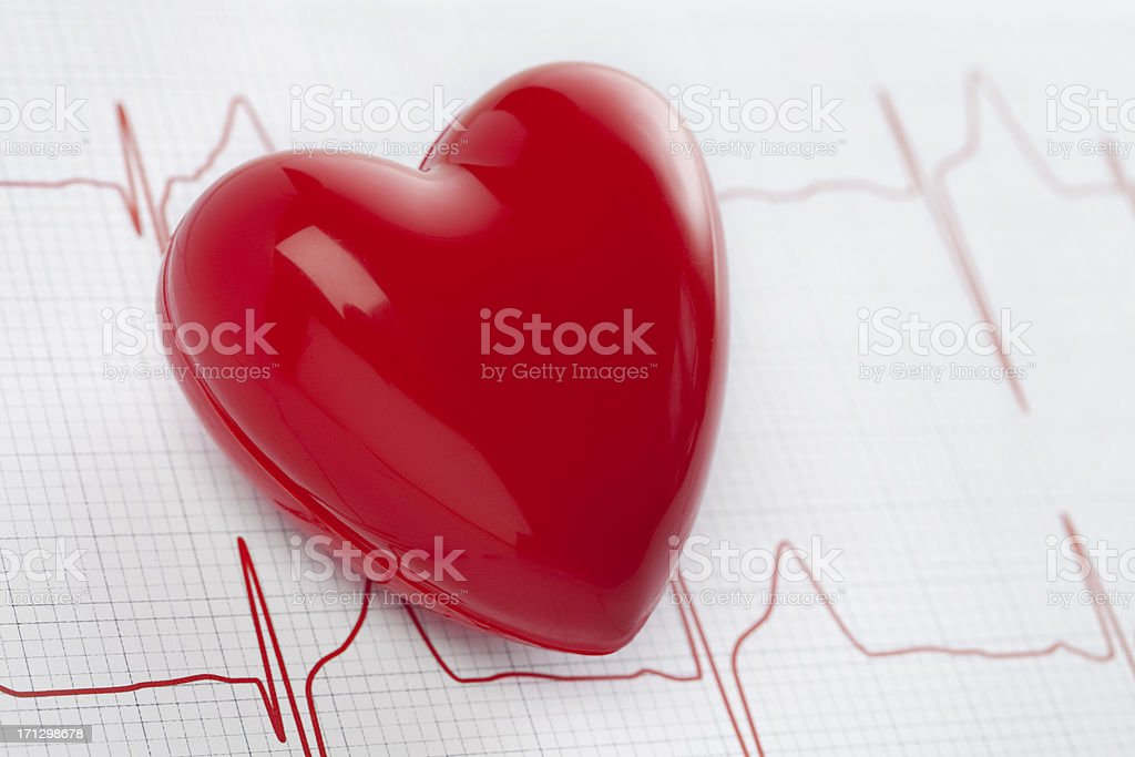 Heart, stethoscope and EKG, health concept royalty-free stock photo