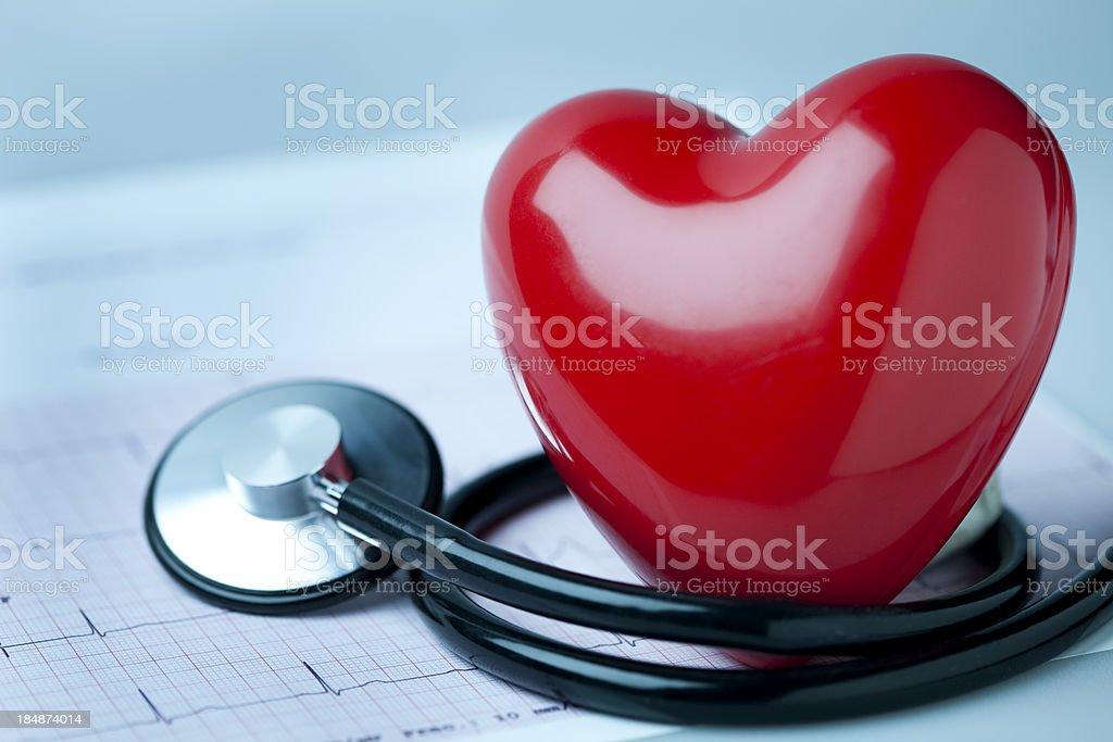 Heart, stethoscope and EKG royalty-free stock photo