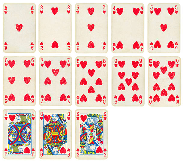 Heart Suit of Old Playing Cards (High Quality) stock photo