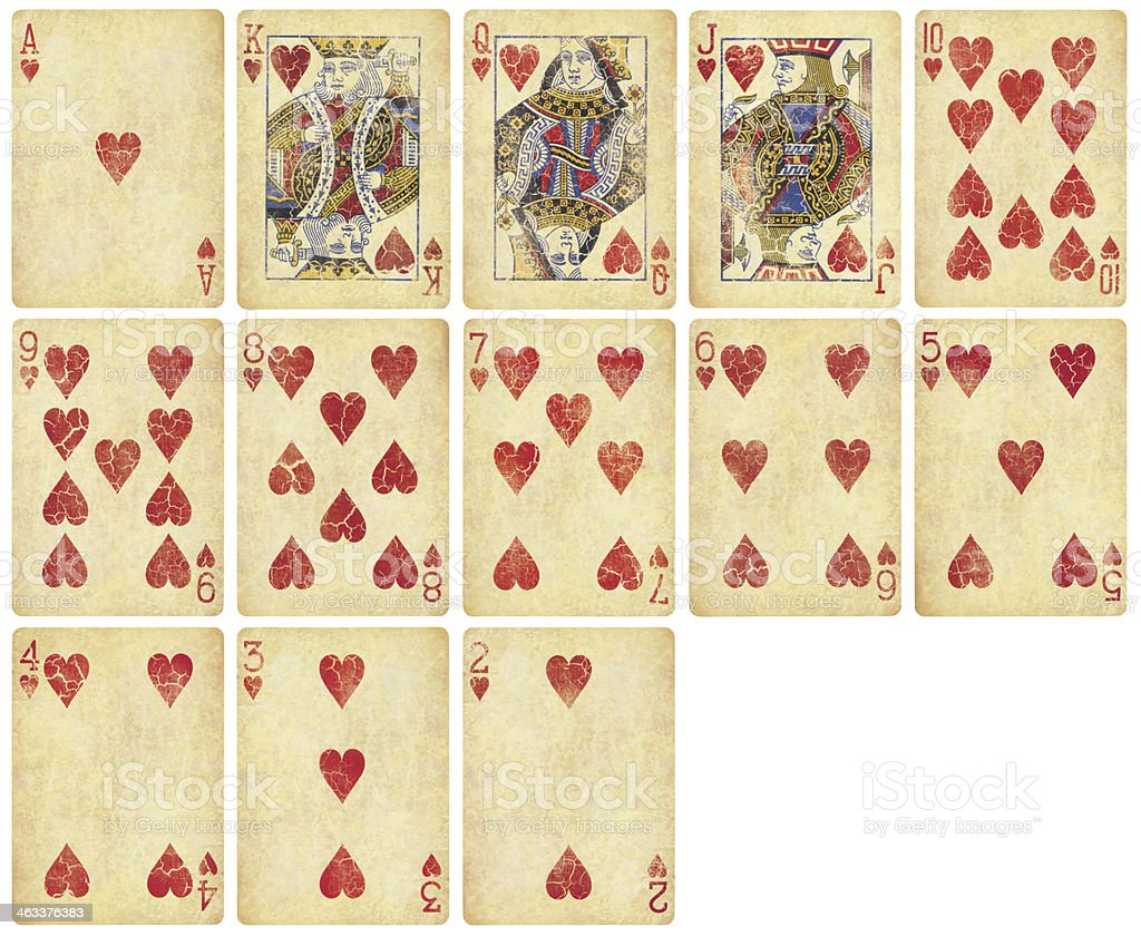 Heart Suit of Vintage Playing Cards royalty-free stock photo