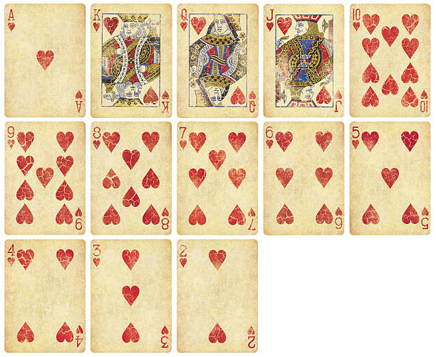 Heart Suit of Vintage Playing Cards stock photo