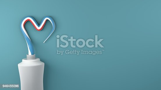 Heart symbol and love from toothpaste. Copy space. 3D rendor.