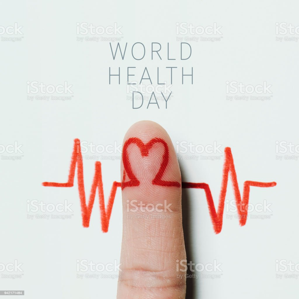 heart symbol and the text world health day stock photo