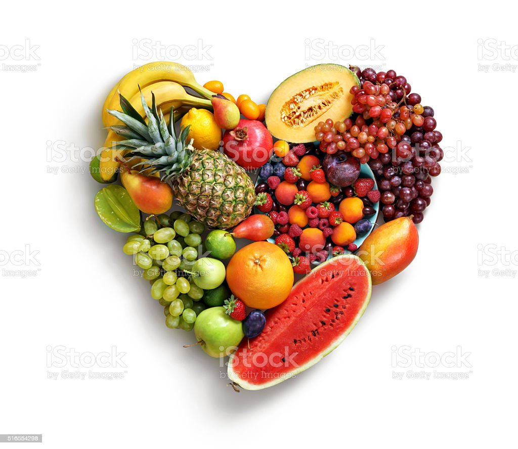 Heart symbol. Fruits diet concept. stock photo