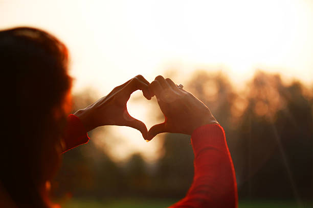 Heart symbol made with hands Young women making heart symbol in front of sunlight.  romance stock pictures, royalty-free photos & images