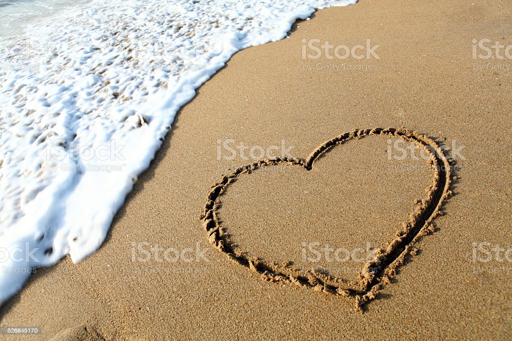 Heart Symbol On a Sand stock photo