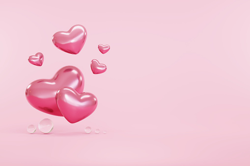 heart symbol on pink background with right copy space happy valentines day concept
