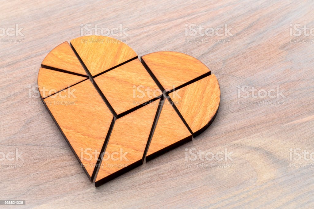 heart tangram puzzle stock photo