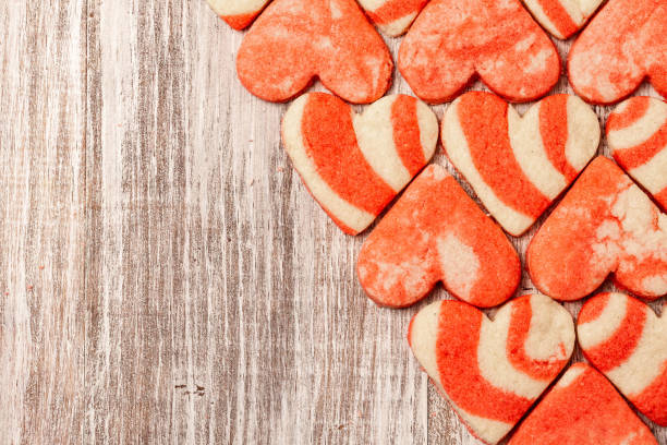 Heart Valentine Cookies On Wood Background stock photo