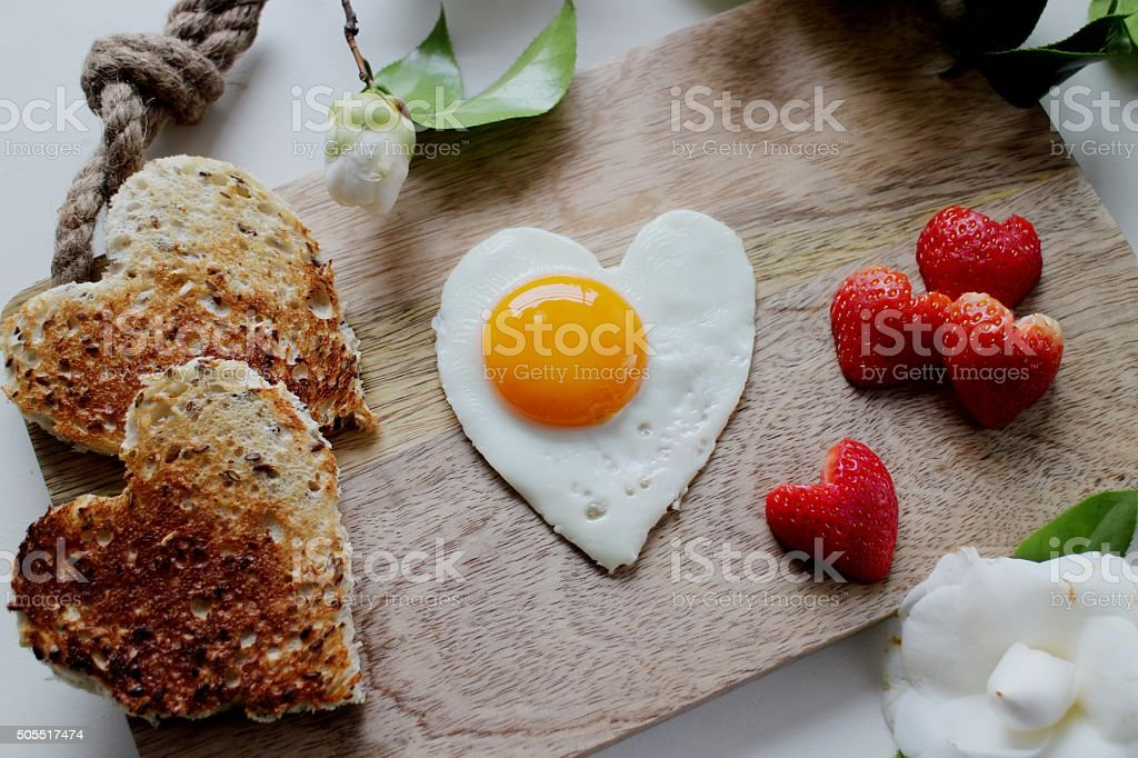 Heart Valentine's day breakfast stock photo