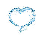 heart water splash isolate on white background.