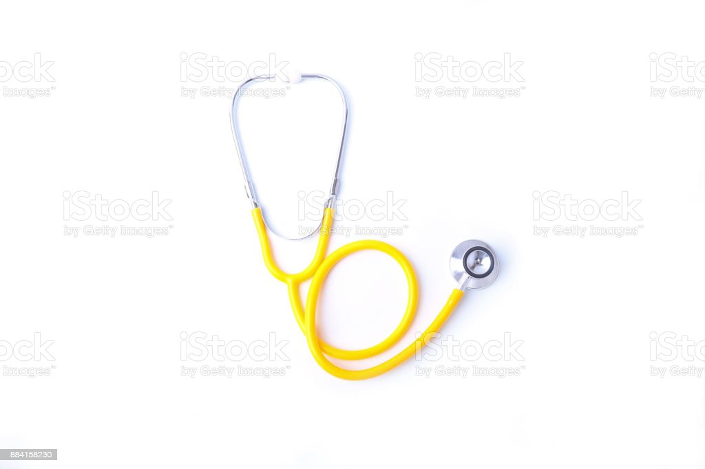 A heart with a medical stethoscope, isolated on white background stock photo