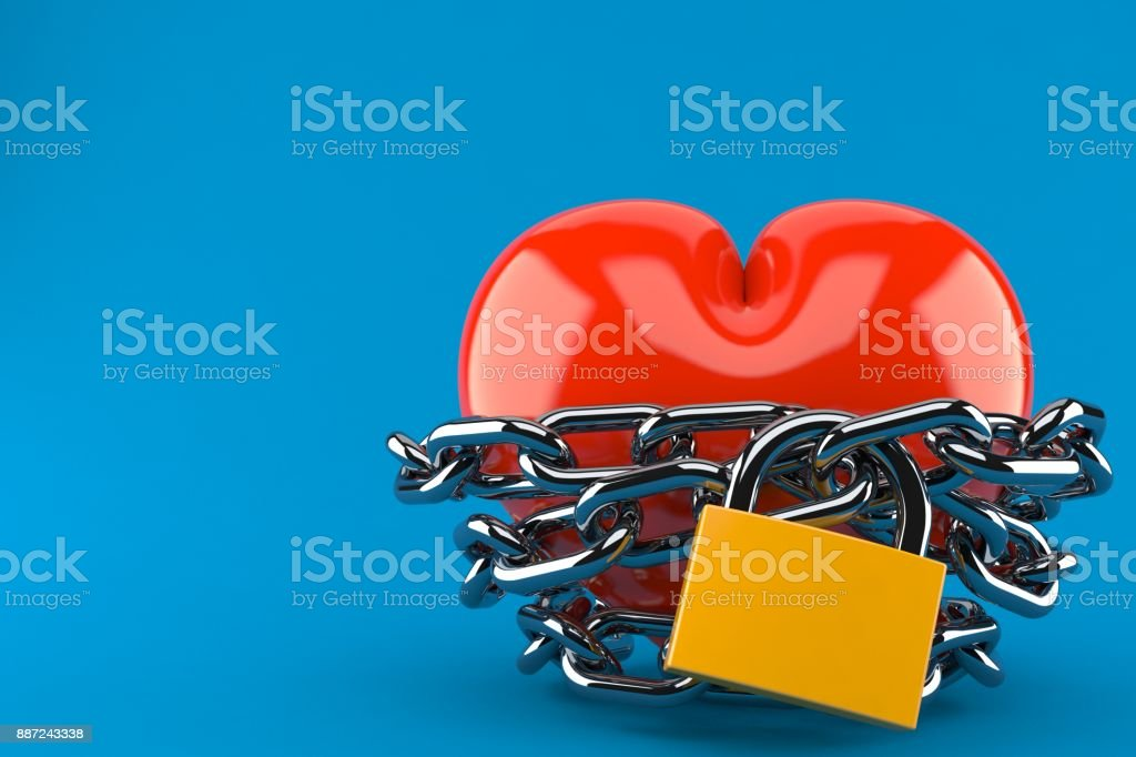 Heart with chain and padlock stock photo