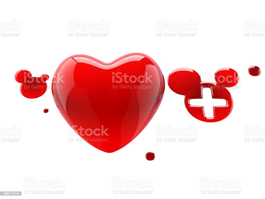 heart with drops of blood stock photo