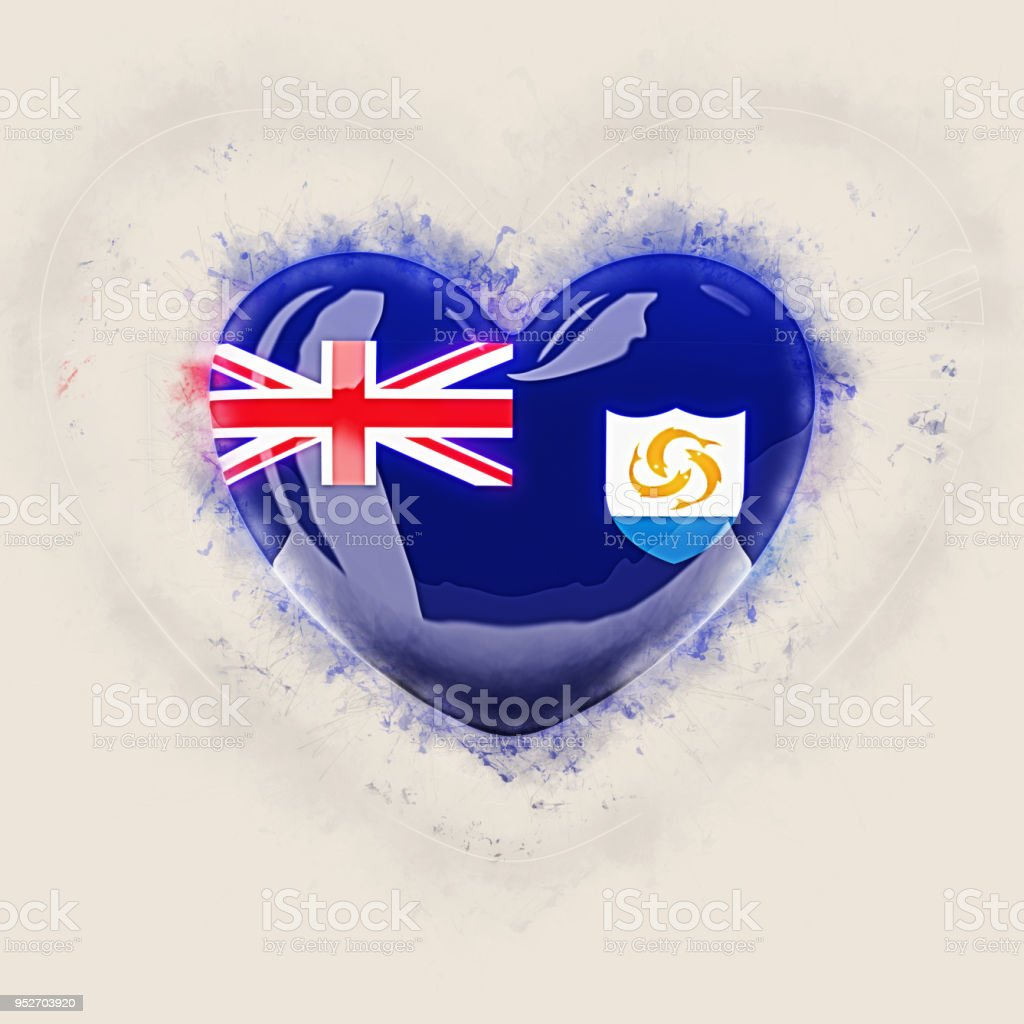 Heart with flag of anguilla stock photo