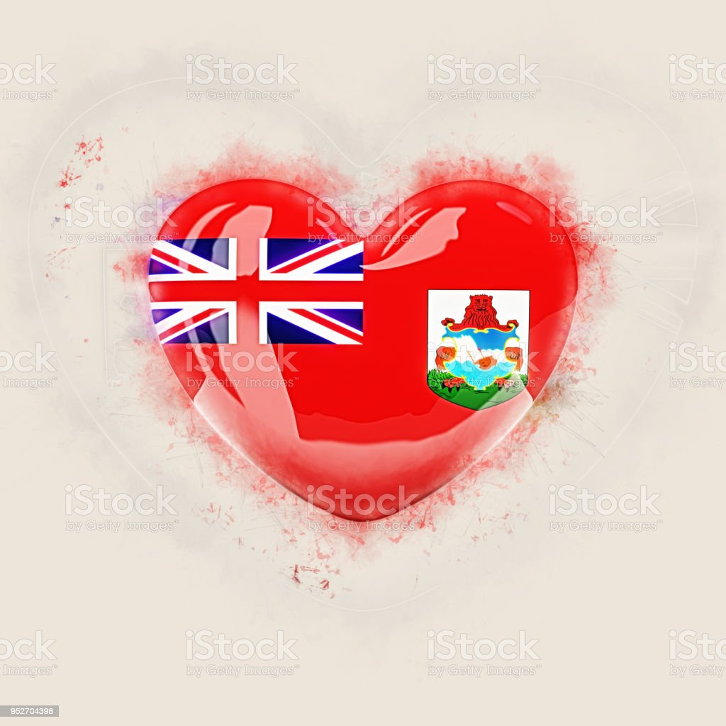 Heart with flag of bermuda stock photo