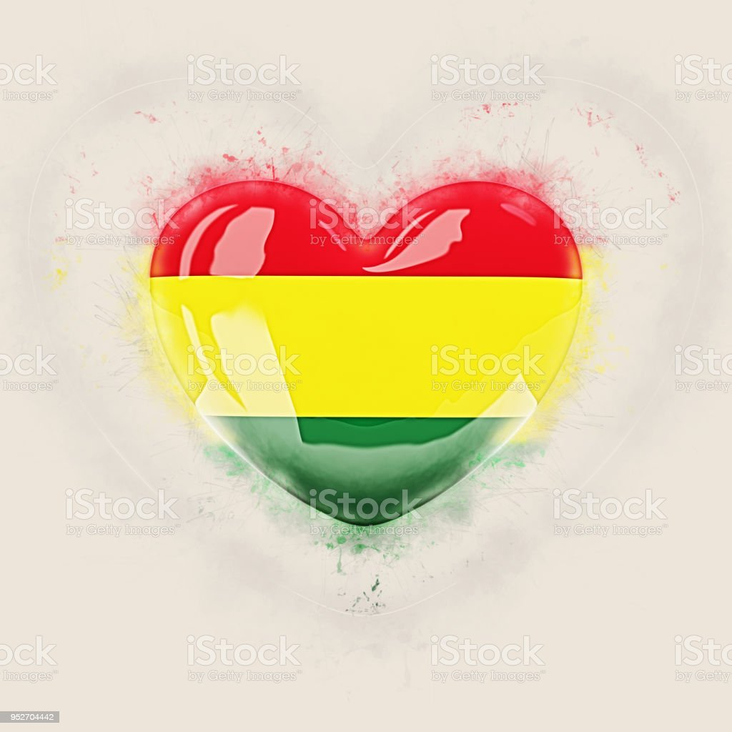 Heart with flag of bolivia stock photo