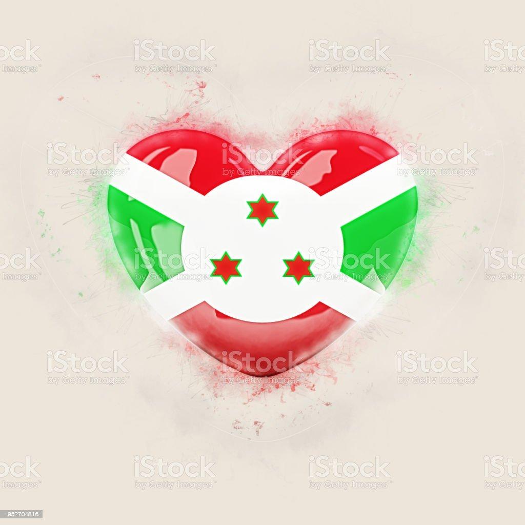 Heart with flag of burundi stock photo