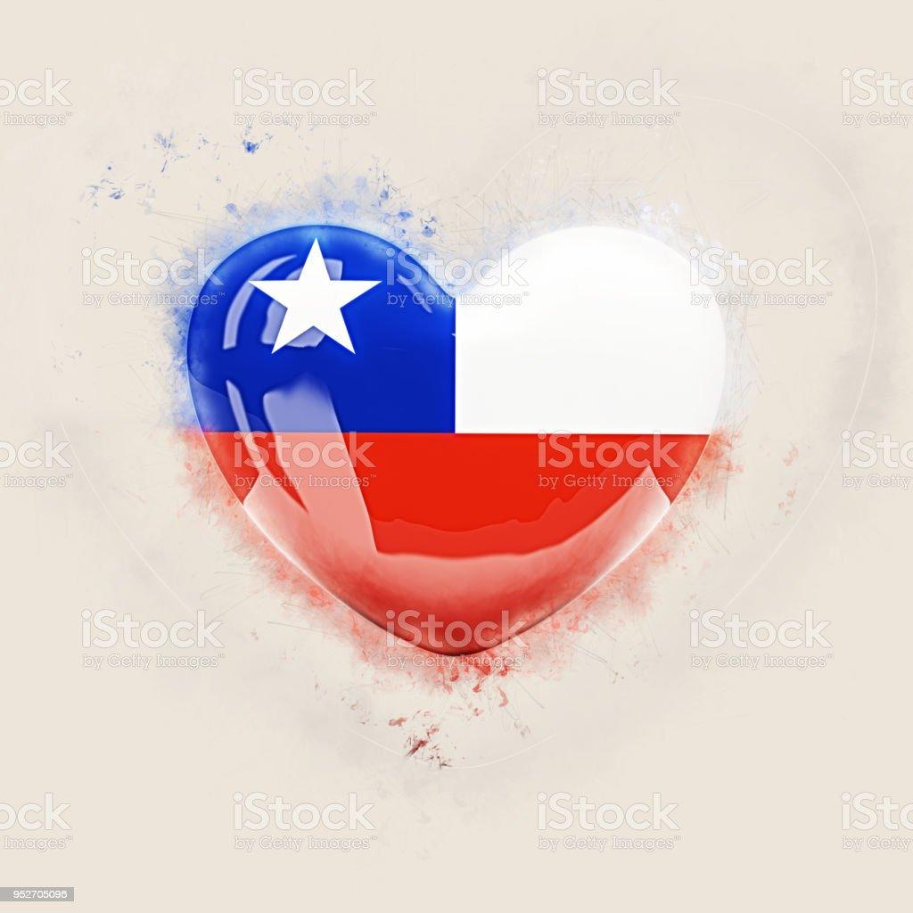 Coração com a bandeira do chile - foto de acervo