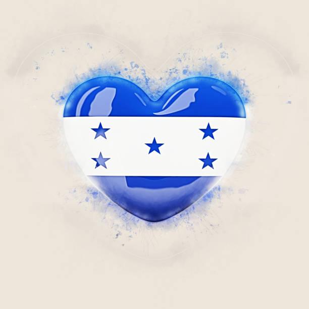 corazón con la bandera de honduras - bandera de honduras fotografías e imágenes de stock