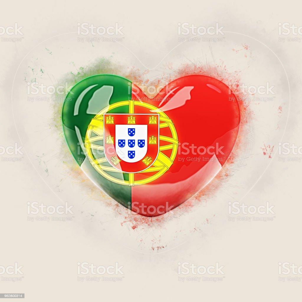 Heart with flag of portugal - fotografia de stock