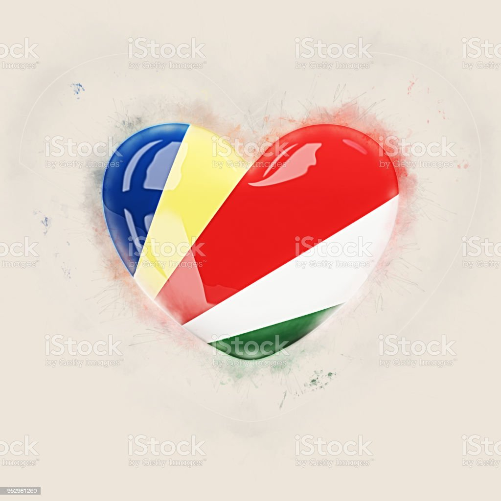 Heart with flag of seychelles stock photo