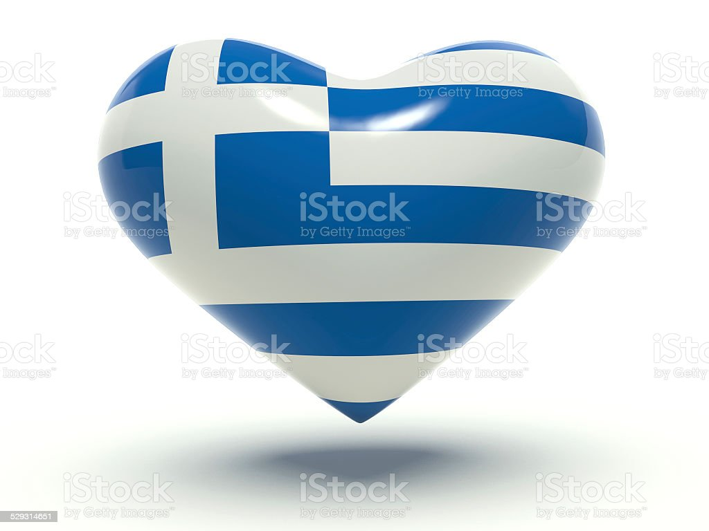 Heart with Greece flag colors. 3d render illustration. stock photo
