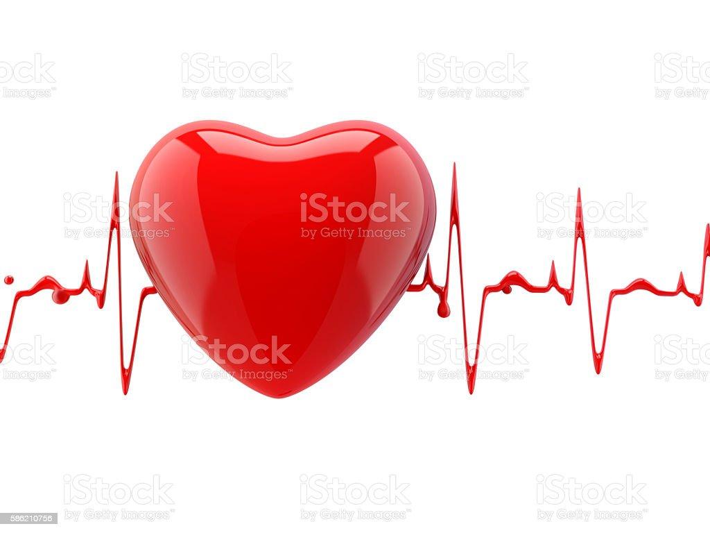 heart with heartbeat - foto de acervo